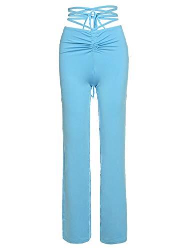 Grace&Nora Pantalones largos de cintura alta para mujer, pantalones lisos de pierna recta para uso diario, yoga y ejercicio