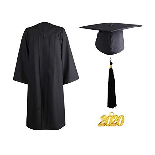 2020 Matte Graduation Gown Cap Quaste Set, Matte Unisex Graduation Gown Cap mit Quaste 2020 für Schüler und Junggesellen, Schwarz