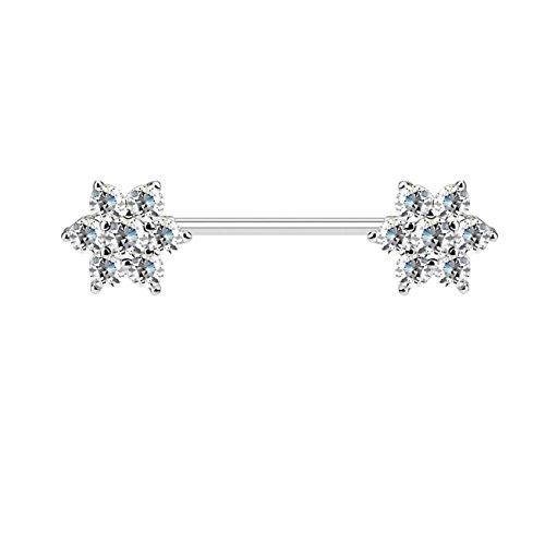 beyoutifulthings Brustwarzen-Piercing GLITZERNDE ZIRKONIA-Blumen Brust-Piercing Edelstahl Silber Clear Stab 1,6mm 16mm