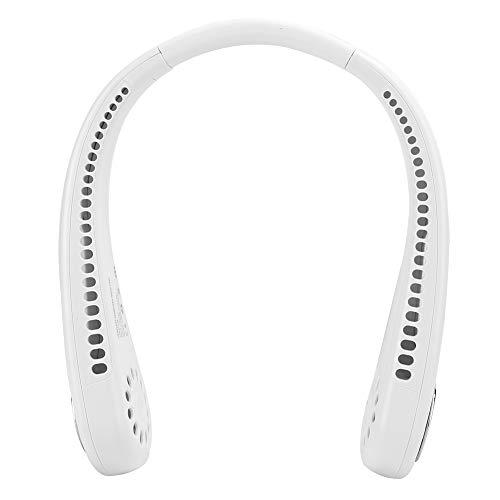 Ventilador USB sin Hojas para Colgar en el Cuello, Mini Ventilador Personal portátil con 3 velocidades, Ventilador silencioso para el Cuello con Manos Libres y largas Horas de Trabajo(Blanco)