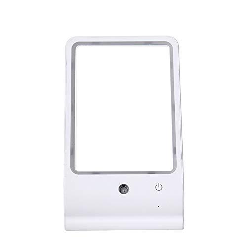 LED Portable Kosmetikspiegel Luftbefeuchter Tischlampe feuchtigkeitsspendende und befeuchtende Kosmetikspiegel Lampe USB-Lade Nachtlicht Mädchen,White