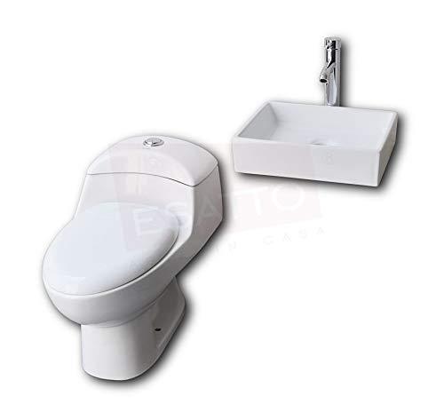 Esatto® Paquete de sanitario inodoro y lavabo cerámico llave gratis WC-002 Platz