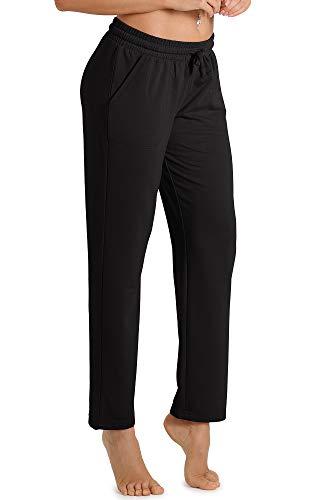 icyzone Pantalones de chándal para mujer, largos, informales, para el tiempo libre, para correr, con cintura Negro L