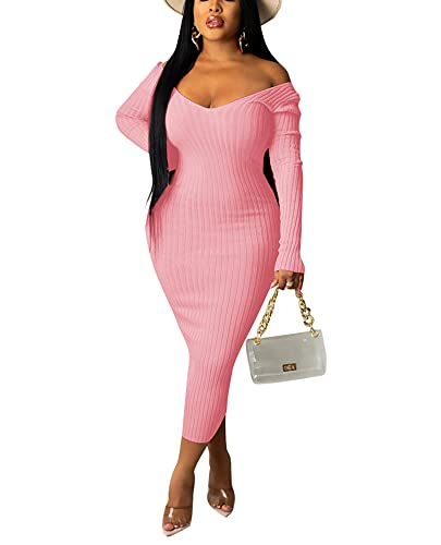 Lexiart Ribbed Dress for Women - Sexy V Neck Bodycon Long Sleeve Off Shoulder Club Dresses Pink S