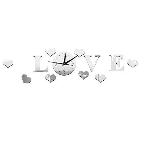 YOUNGE Wandaufkleber 3D Mirror Sticker, Acrylic 3D Clock Sticker Love Mirror Effect Wedding Gift Living Room Home Wall Decoration
