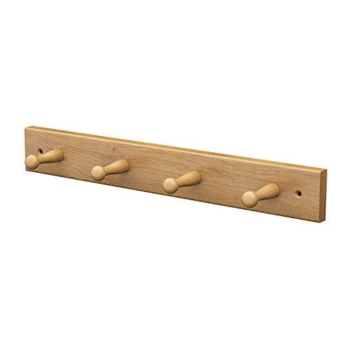 Sossai® Wandgarderobe aus Holz | Natürliche Optik - hochwertiges Eichenholz | HG1 | seidenmatt lakiert | Hakenleiste mit 4 Garderobenhaken | Breite: 41 cm
