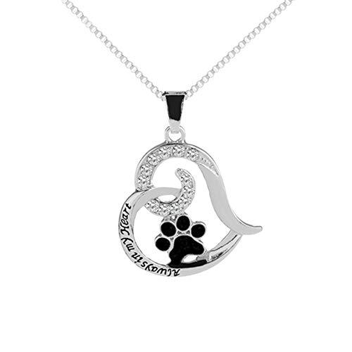 AchidistviQ - Collana con ciondolo a forma di zampa di cane, con scritta in lingua inglese 'Love' in argento