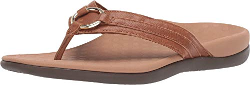 Vionic Women's Tide Aloe Toe-Post Sandal - Ladies Flip- Flop with Concealed Orthotic Arch Support Mocha Leather 7 Medium US