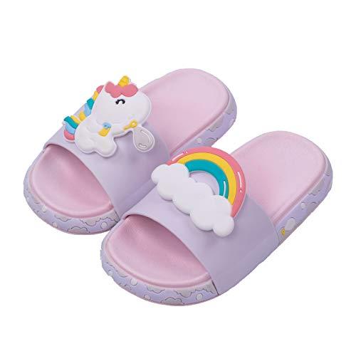 Badeschuhe Kinder,Sommer Flache Hausschuhe Mädchen Jungen Badelatschen Kinder Einhorn Pantoletten rutschfest und Leicht Strand Slipper Sandalen(pink,32/33)