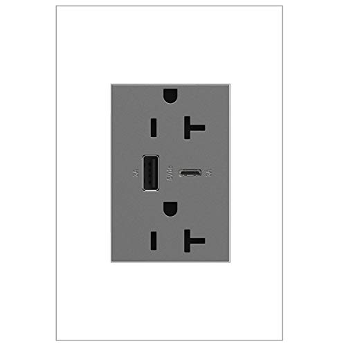 adorne Dual-USB, 20A, Ultra-Fast Charge, 6 Amp, Type A/C, USB, Hybrid Outlet, Magnesium, ARTRUSB206ACM4