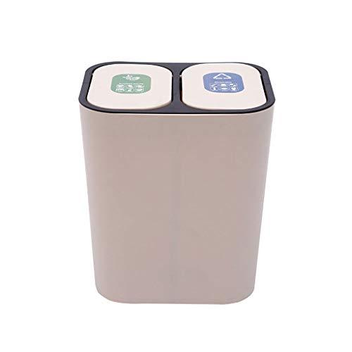HZX Basurero Cubo de Cocina Contenedor de Residuos, Cubo de Basura con Tapa Basculante Doble Contenedor con Separador con Capacidad 18L