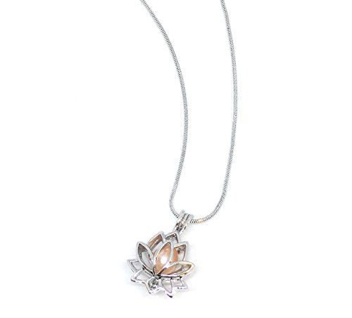 """Northern Response Presents Precious Pearl by My Inspirations, Cultured Pearl in Oyster Necklace Kit Pendant with Rhodium Plated Chain 20"""" (Lotus)"""
