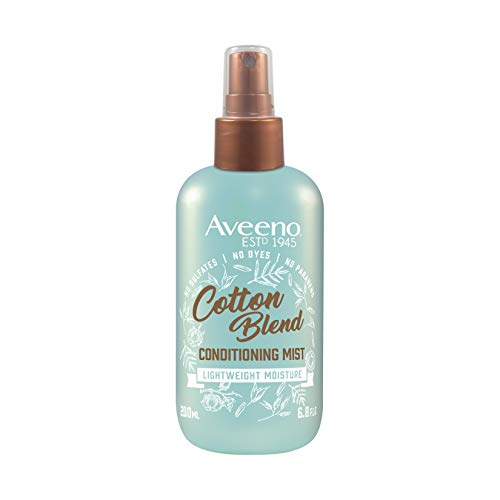 Aveeno Cotton Blend Leave-In Light Moisture Conditioning Mist with for Normal to Fine Hair, Detangling Hair Treatment to Style & Soften, Paraben- & Dye-Free, 6 fl. oz Detangling Light Conditioning Mist