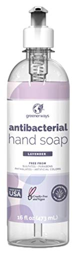 Greenerways Antibacterial Hand Soap | Made in USA | Lavender Liquid Hand Soap with Pump and Soothing Aloe Vera | Sulfate-Free, Paraben-Free, Cruelty-Free, Vegan Hand Wash (16 Fl Oz (1 Pack) - Lavender)