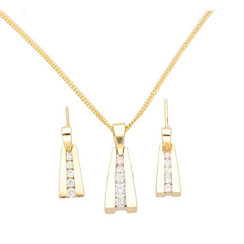 Parure con ciondolo e orecchini a goccia in oro giallo 9 carati, con diamanti da 0,50 kt, catenina da 45,7 cm