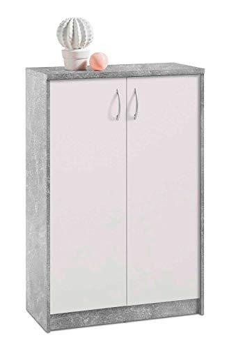 Kommode Highboard Mehrzweckschrank | Dekor | Betonoptik | Weiß | 2 Türen