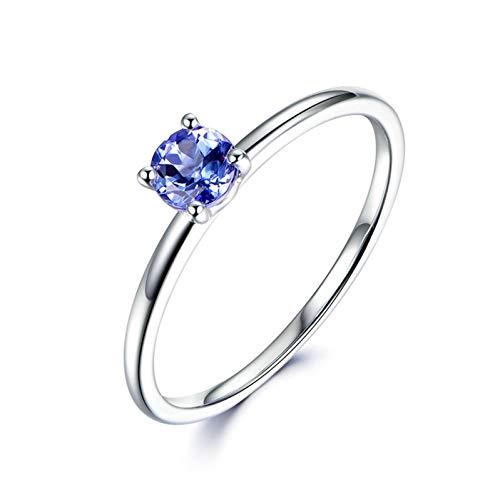 Ubestlove 18 Carat Gold Engagement Rings Grandma Gifts Personalised Round Cut Tanzanite Ring 0.38Ct R 1/2