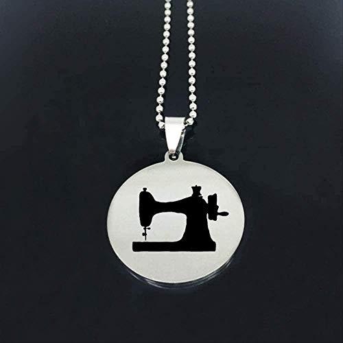 LBBYMX Co.,ltd Collar de máquina de Coser con Personalidad, Nuevo listado, Collar de Disco de Acero Inoxidable para Mujer, joyería, joyería