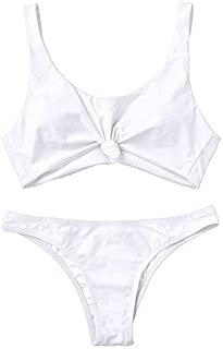 ZAFUL Women's Bathing Suit Scoop Knotted High Cut Bikini Set Wide Straps Swimsuit