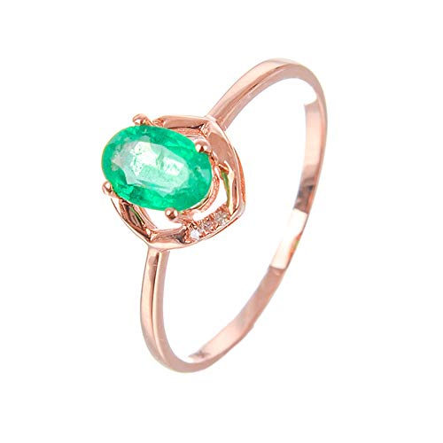 KnSam Gold Ring Dainty, Green Emerald Oval Cut Ring 18K Rose Gold with Diamond Rose Gold Ring Size N 1/2