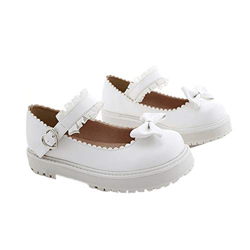 Zapatos de Plataforma para Mujer, Zapatos de Cuero con Correa de Hebilla de Punta Redonda de Ocio, Zapatos de Estilo Dulce con Lazo y Encaje Lolita, Zapatos de Princesa Mary Jane