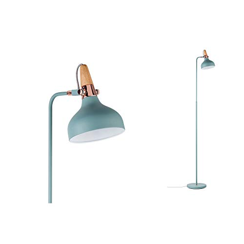 Paulmann 79654 Neordic Juna Stehleuchte max. 1x20W Stehlampe für E14 Lampen Standleuchte Softgrün/Kupfer/Holz Fluter 230V ohne Leuchtmittel, Metall