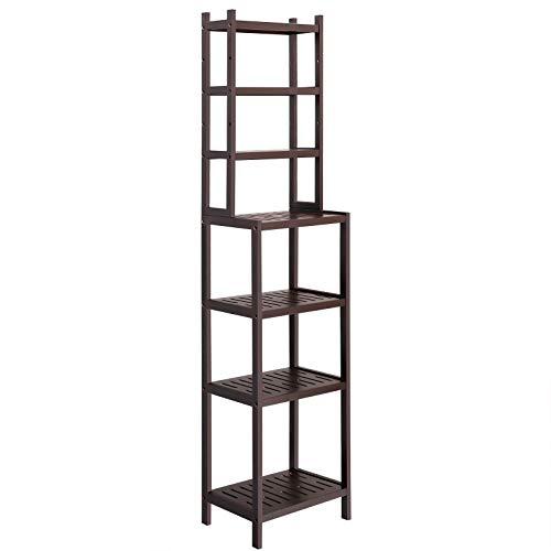SONGMICS 7-Tier Bamboo Bathroom Shelf, 2-in-1 Design Adjustable Storage Rack, Free Standing Multifunctional Organizer, Shelving Unit for Washroom, Living Room, Kitchen, Brown UBCR01BR