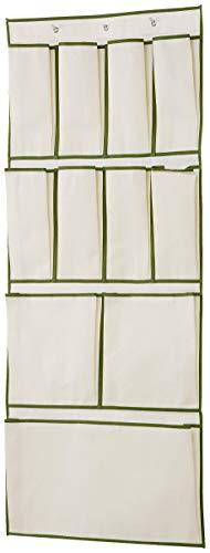 H & L Russel Ltd hangorganizer voor de deur met 11 zakken, taupe met afgezette sierlijst in Harvest groen