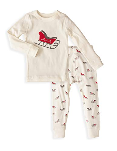 Baby Long Sleeve Holiday Pajama Set - 100% Soft Organic Turkish Cotton- Unisex Boys/Girls – Red Santa Sled 12-18 Months
