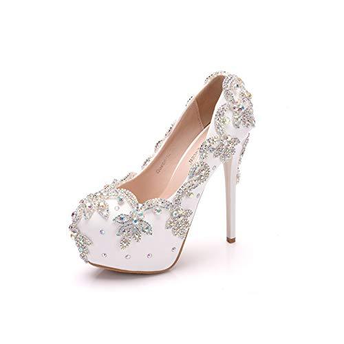Blue Rhinestone Nupcial Bridal BOOMS Shops Slim TOELS Toe Redondo Plataforma Bombas Zapatos De Boda Zapatos De Tacones Altos,Plata,36