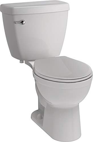Delta Faucet Haywood White Round-Front Toilet with...