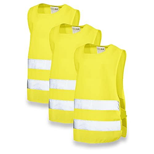 Projects 3er Set Warnweste Kinder 3-6 Jahre Leuchtweste Kinder Reflektorweste gelb | Warnwesten Auto Kinder Sicherheitsweste Kinder Fahrrad | Reflektierende Weste Kinder Kinderwarnweste 3-6 Jahre