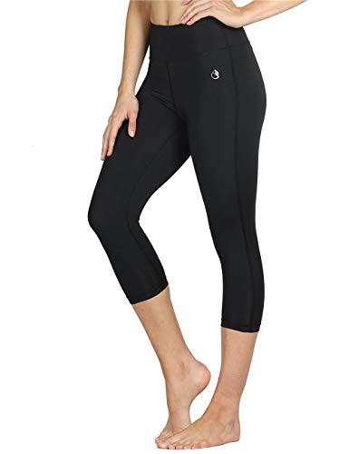 icyzone 3/4 Sport Leggings Damen Sporthose Laufhose - Hohe Taille Training Tights Yoga Hosen Capri (M, Black)