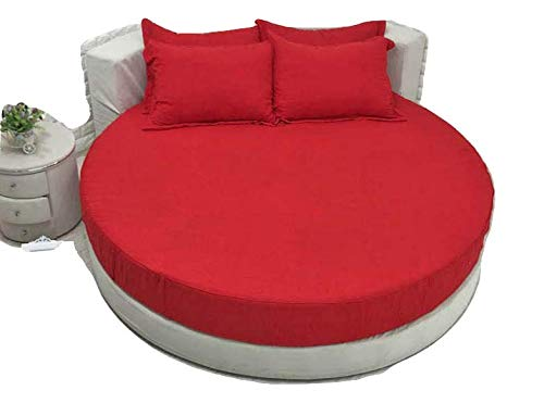 """Best Bedding 4 PC Round Bed Sheet Set 800 Series Satin (1 Flat Sheet, 1 Fitted Sheet, 2 Pillowcases) 84"""" Diameter Round Fitted Sheet with 18"""" Deep Pocket, Silky Soft & Easy Care, Red"""