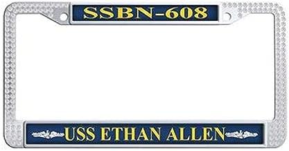 Dongsmer USS Ethan Allen SSBN-608 Car License Plate Holder White Rhinestones Auto License Cover Holder