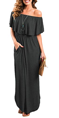 Womens Off The Shoulder Ruffle Party Dresses Side Split Beach Maxi Dress Darkgray M