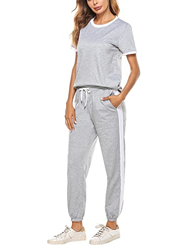 Hawiton Womens Tracksuit Loungewear Outfits Short Sleeve Sweatsuits Jogger Sets Sportswear Suit Long Pants with PocketGreyM