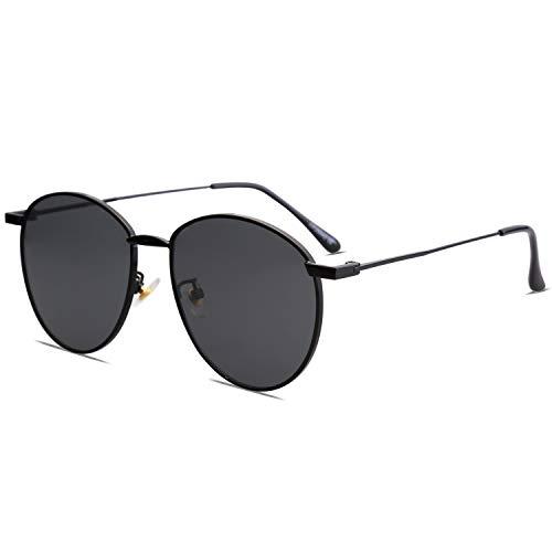 SOJOS Schick Metall Runde Sonnenbrille Damen Herren Verspiegelt SJ1117 mit Schwarz Rahmen/Grau Linse