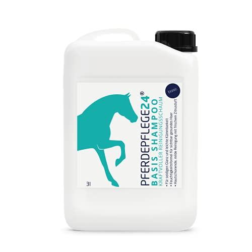 PFERDEPFLEGE24 Champú suave para caballos, base de champú para caballos, 0,5 l, 3 l, 5 l y 10 l de pH neutro, brillo sedoso, fácil de peinar y cabello visiblemente sano – Cuidado para caballos