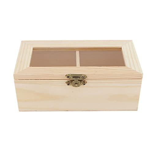 Holzschatulle, Teebox aus Holz, Holzkästchen, Teekasten mit 2 Fächern und Deckel, Holzkiste Aufbewahrungsbox für Schmuck