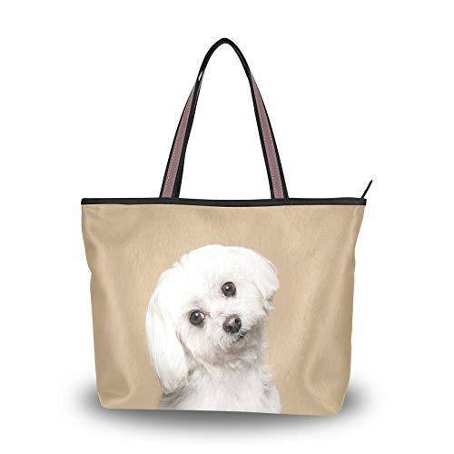 WowPrint Malteser Hund Frauen Tote Bag Handtasche Große Kapazität Schultertasche für Schule Arbeit Reisen Shopping Strand