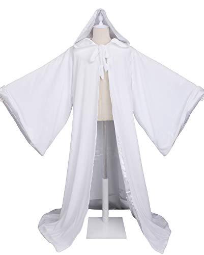 LuckyMjmy Velvet Wizard Robe Halloween Cloak Fancy Cosplay Costume (Small, White)