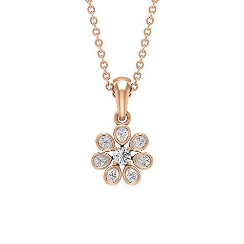 Colgante clásico de flor, con certificado SGL de 0,11 ct de diamante, collar de dama de honor, collar de boda, colgante vintage de aniversario,10K Oro rosa Con cadena