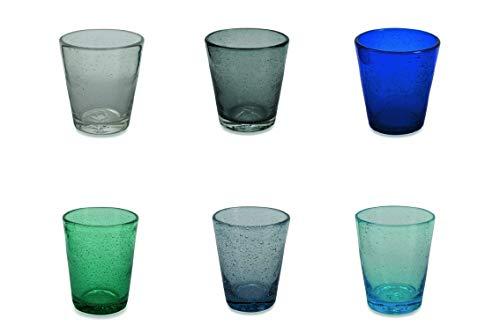 Villa d'Este Home Tivoli Baita Set 6 Bicchieri Acqua, Vetro, Multicolore