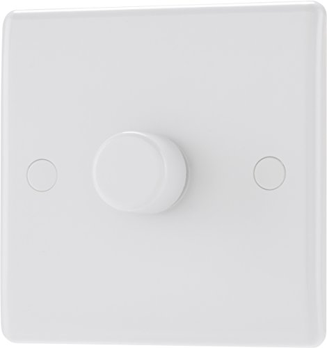 BG Electrical Single Round Push Button Dimmer Light Switch,...