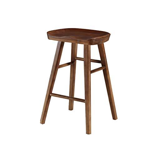 WPJDZ massief houten barkruk eetkamerstoel log barstoel hoge stoel protocol kleur oude kleur zwart walnoot stoel hoogte 55CM, 65CM, 70CM