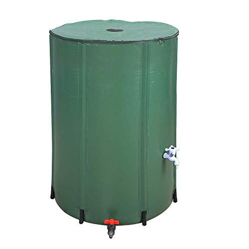 LIVINGPAL 100 Gallon Foldable Rain Barrel, Collapsible Tank Water Storage Container Water Collector with Spigot Filter