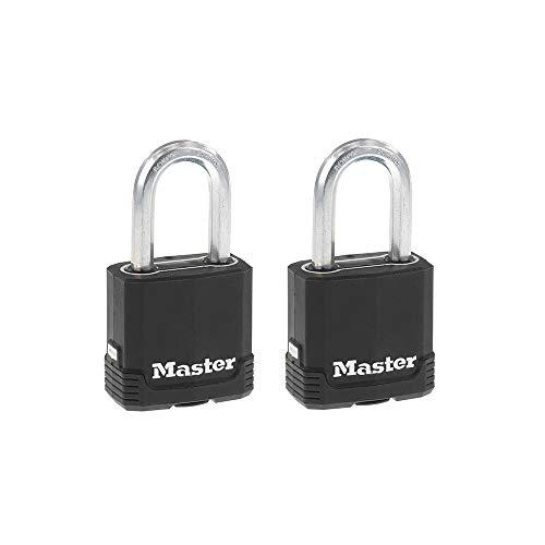 Master Lock M115XTLF Magnum Heavy Duty Outdoor Padlock with Key, 2 Pack Keyed-Alike