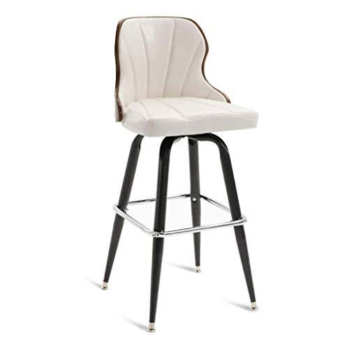 ZfgG barkruk 360° draaibare rugleuning, PU lederen buitenkant, voetsteun, industriële stoelen voor ontbijtbar, balie, keuken en huis Kleur: wit