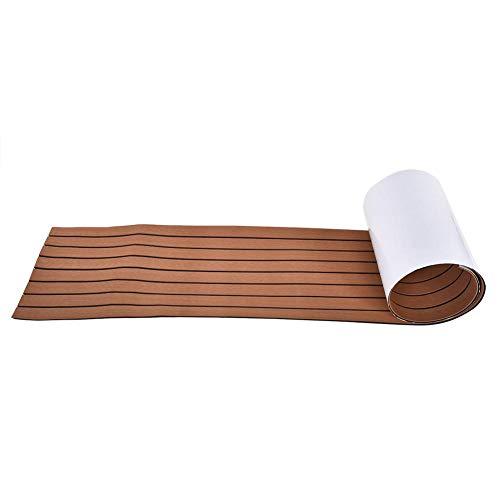 Pomya Eva Boat Decking Sheet, Rutschfester Marine-Teak-Bodenbelag-Teppich, Yacht-Bodenbelag-Teppich-Bodenbelag mit Selbstklebendem(Braun)